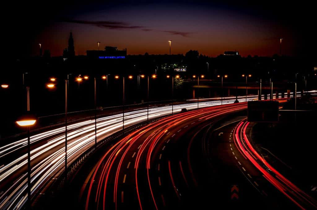highway, light trail, long exposure